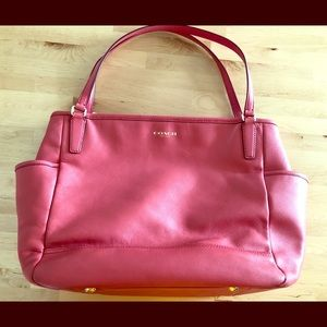 Leather pink Coach diaper bag